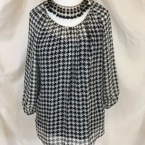 Talbots shear top with a black cami underneath